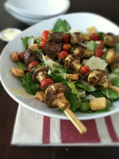 Grilled Steak Kebabs with Ceasar Salad via @Paula - bell'alimento