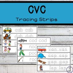 These CVC Tracing strips are a great way to introduce children to CVC (consonant - vowel - consonant) words while they practice their fine motor skills. Fine Motor Skills, Homemaking, Frugal, Homeschool, Encouragement, Children, Learning, Young Children