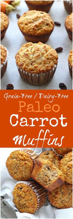 Paleo Carrot Muffins - Grab a muffin for breakfast with these healthy grain-free Paleo Carrot Muffins! Soft, fluffy and full of spice and flavor, these muffins are a great on-the-go breakfast or snack!