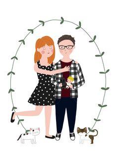 Custom couple portrait (full body) Custom illustration for weddings, anniversary or as a gift