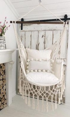 Off White Macrame Hammock Chair – Boho style hammock chair – Cotton Canvas hammock swing chair – Indoor Hanging Chair – Indoor swing - Modern Beige Pillow Covers, Beige Pillows, Hammock Swing Chair, Swinging Chair, Bedroom Swing Chair, Hammock In Bedroom, Hanging Swing Chair, Modern Hanging Chairs, Hanging Chair With Stand