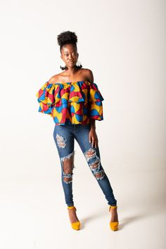Bisa Ruffle Crop Top with Matching Head Wrap African Fashion Ankara, African Print Fashion, Africa Fashion, African Print Top, Modern African Fashion, African Print Clothing, African Print Dresses, African Dress, African Blouses