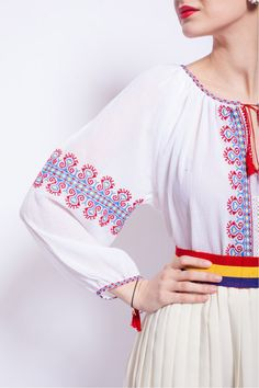 Ie romaneasca editie limitata Bell Sleeves, Bell Sleeve Top, Cross Stitch, Costumes, Traditional, Embroidery, Face, Clothes, Beautiful