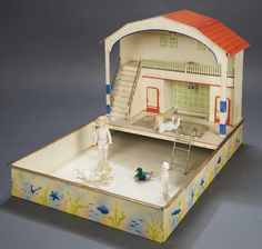 German Tin Swimming Pool by Kibri with All-Bisque Dolls