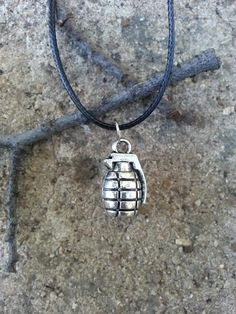 Silver Grenade Charm Necklace Army Bomb Fashion Pendant Jewelry
