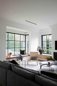 Steel framed windows in luxurious living room with timber and monochrome modern hues. Living Room Ideas 2020, Living Room Modern, Living Area, Living Room Designs, Living Rooms, Maximalist Interior, California Bungalow, Melbourne House, Australian Homes