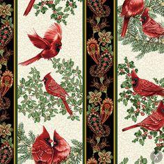 A Festive Season Repeating Stripe Quilting Fabric - Cream