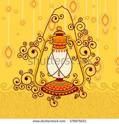 Vector design of village lantern in Indian art style