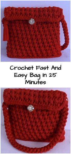 Crochet Fast And Easy Bag In 25 Minutes - Crochet Ideas Easy Crochet Projects, Crochet Crafts, Crochet Ideas, Easy Bag, Simple Bags, Crochet Handbags, Crochet Purses, Crochet Bags, Fast Crochet