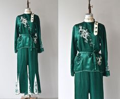 Vintage 1930s deep emerald green silk pajama/lounging set. Top has high collar with asymmetrical buttons down a white placket, embroidered dragon,
