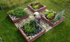 Supreme raised-bed garden quad. Each garden box measures 4' x 4'Whole garden measures 10' x 10', $3000