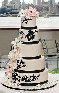 Blush pink and black wedding cake