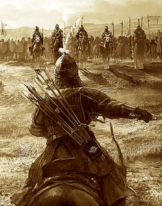 """Usually, he would attacked using hammer and anvil tactics, whenever one wing would pin a foe down the other immediately tried to strike the foe from the flank in a devastating charge. Other times he divided his forces into 3 sections with the White Horse Cavalry at the center. It was recorded in the """"History of the Three Kingdoms"""" and the """"Book of Late Han"""" that against the Hunnic Xianbe and Xiongnu tribes they charged like a meteor. Persian Warrior, Karbala Photography, Arabian Art, Islamic Paintings, Templer, Warrior Spirit, Samurai Art, Historical Art, Fantasy Warrior"""