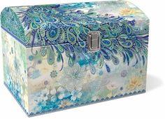 Paisley Peacock Treasure Trunk: Punch Studio: Dragonfly Gifts: FairyGlen.com