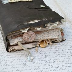 Rustic Leather and Lace Keepsake Book by vickisheehan on Etsy, $150.00