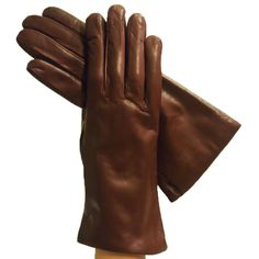 Brown Simple but Luxurious Italian Leather Gloves, Cashmere-lined