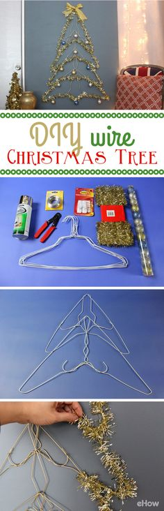 If an actual tree is not in the cards this year due to small space or expenses, this wire Christmas tree is a fantastic alternative! Using wire hangers and some tinsel, you can recreate the magic of Christmas for practically nothing. http://www.ehow.com/how_5398573_make-wire-christmas-tree.html?utm_source=pinterest.com&utm_medium=referral&utm_content=freestyle&utm_campaign=fanpage