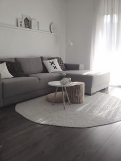 living room - Grey lounge room. I like the coffee table teamed with the wooden…