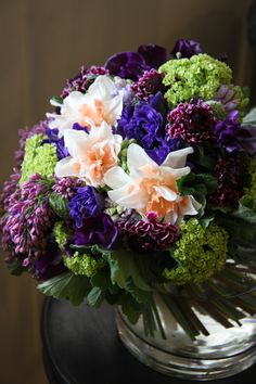 Double Daffodil,anemone,hyacinth,lilac,sweet pea and scabiosa