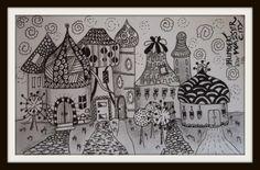 zentangle city art   Gisteravond laat gemaakt... Ik had weer even zin in zwart/wit. En ik ...
