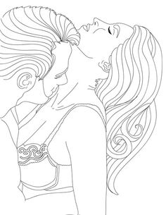 People Coloring Pages, Love Coloring Pages, Printable Adult Coloring Pages, Coloring Books, Tumblr Girl Drawing, Line Art Vector, Line Artwork, Erotic Art, Colorful Pictures
