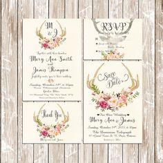 Printable Wedding Invitation Suite Deer Antler Pink Floral Boho Rustic  Customizable Wedding Invites   DIY Bohemian Wedding Invitation Set
