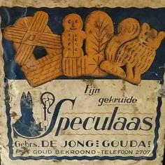 "Antique Dutch ""St. Nicholas"" Speculaas Christmas Gingerbread Spice Cookies label, from Holland."