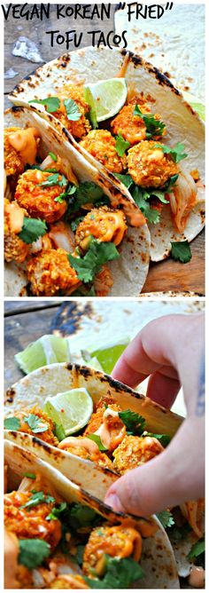 "These Korean ""fried"" tofu tacos are your new favorite taco. Tofu that is baked, but so crispy you will think it is fried, kimchi, cilantro, Gochujang mayo!"