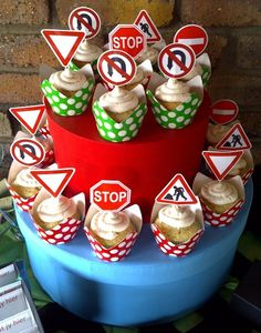 Road Sign Cupcakes