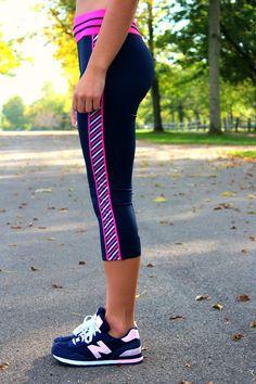 "Adorable @abbywidger models our ""Stripe Down"" yoga capris. Navy & pink = preppy perfection! Get them at devonmaryn.com!"