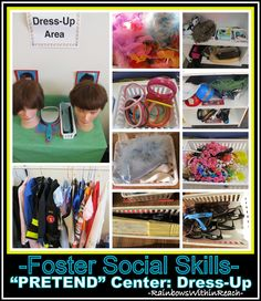 """Pretend"" Center in Preschool Setting, Dress-Up Costume Collage to Foster Social Skills -- RoundUP of 'Pretend Center' possibilities via RainbowsWithinReach"
