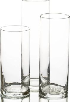 Cylinder vase Candle holder, set of 3 tiered vases and 40cm mirror plate hire | Elite events Decor