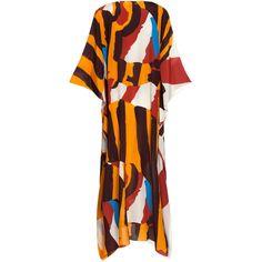Vanda Jacintho Printed Crepe De Chine Caftan (7175 MAD) ❤ liked on Polyvore featuring tops, tunics, v neck tunic, asymmetrical tunics, red tunic, kaftan tops and kaftan tunic