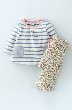 Mini Boden Cotton Stripe Top & Print Pants Set (Baby Girls & Toddler Girls) available at #Nordstrom #Text2buy and Opt into quick and easy style tips from your favorite style expert 516-900-7288