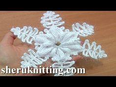 Crochet Snowflake Ornaments Tutorial 9 Part 1 of 2 Folded Petal Flower Center