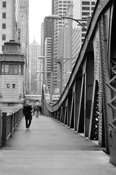Chicago - LaSalle Street Bridge**I can remember when I was a little girl walking across the bridges of downtown Chicago when they were wooden and had gaps so you could see down to the river..