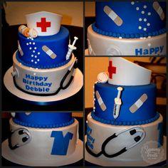 never had a nurse cake Make Up Cake, Take The Cake, Cake Making, Happy Birthday Nurse, Birthday Cake, Nurse Cookies, Doctor Cake, Nurse Party, School Cake