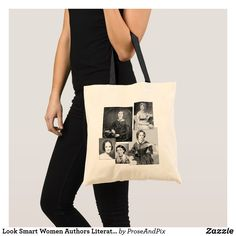 New +++ Only $5.97 today (40% off) with code ZNEWYRNEWYOU ~ Look Smart Women Authors Literature Lover Tote Bag ~ Look smart with five great women authors on your arm: Emily Dickinson, Jane Austen, Mary Shelley, Virginia Woolf, and Charlotte Bronte. Tote bags come with five handle colors to choose from: white, black, green, blue, and red. #shopping #reading #booklovers #literature #authors #women #poets #writers #writerslife #library #bookbag #totebag #style #fashion #gifts
