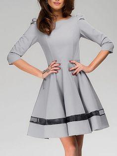 d94eee56ce Persun Women s Mesh Panel Sleeve A-line Emprie Dress