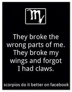 They broke my wings but forgot I had claws Scorpio Zodiac Facts, Scorpio Traits, Scorpio Love, Zodiac Signs Scorpio, Scorpio Horoscope, My Zodiac Sign, Scorpio Woman, Horoscopes, True Quotes
