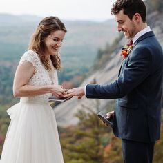 Bride and groom exchange rings during their ceremony during elopement in the White Mountains in New Hampshire. New Hampshire elopement packages. Elopement Ideas, Elopement Inspiration, White Mountains, Outdoor Weddings, Beautiful Morning, Elopements, Traditional Wedding, New Hampshire, Family Portraits
