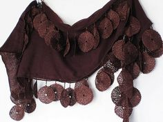 Chocolate Brown Cotton Scarf With Lace by mediterraneanlights, $15.90