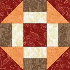 Grecian Square Block. Sew triangles by sewing 2 squares from point to point & ironing each back. Sew rectangles by sewing 2 squares across the centre & pressing back. Cut all pieces the same size