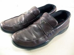 Prada Sport Men's Logo Loafers Brown Leather Shoes Preowned Size 9.5 (10.5 US) by EclectiquesBoutique