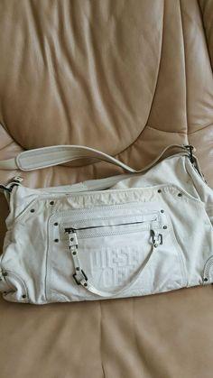 LARGE DIESEL WHITE Cow Leather & Cotton shoulderbag  TOTE BAG   | eBay