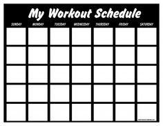 blank workout schedule