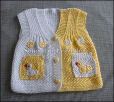 Semadan Lezzetler: Bütünden örme süslü Bebek yeleği See other ideas and pictures from the category menu…. Baby Knitting Patterns, Crochet Stitches Patterns, Knitted Baby Cardigan, Baby Pullover, Knitted Hats, Girls Sweaters, Baby Sweaters, Crochet Hairband, Braidless Crochet