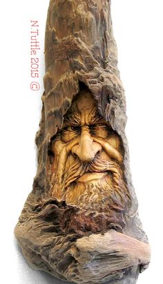 Psychosculptor - Carved in driftwood collected from the southern Oregon Coast. This carving measures approximately 15 inches in height.