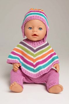 Poncho, bukse og lue - Viking of Norway Baby Born Clothes, Boy Doll Clothes, Knitting Dolls Clothes, Knitted Baby Clothes, American Doll Clothes, Crochet Doll Clothes, Knitted Dolls, Doll Clothes Patterns, Doll Patterns