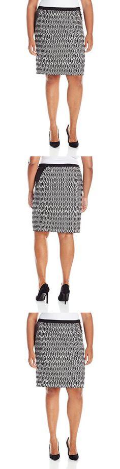 Rafaella Women's Plus Size Geometric Jacquard Skirt, Black, 2X